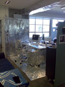Tinfoiled desk